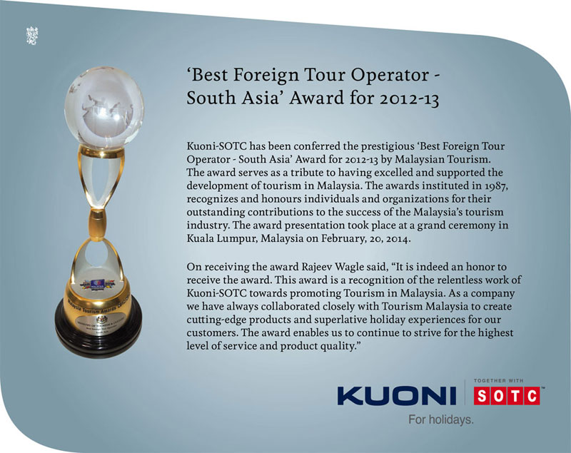 Best Foreign Tour Operator - South Asia Award for 2012-2013