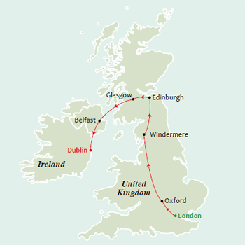 11 Days Glimpses of Great Britain with Ireland Tour Map