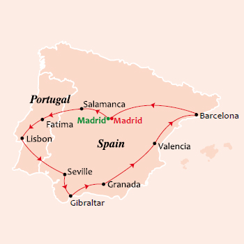 12 Day Spanish Fiesta Tour Map